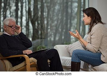 adolescente, falando, com, psicólogo,