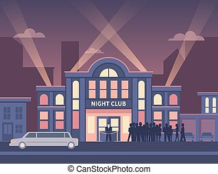 Building Night Club with Queue at the Entrance - Building...