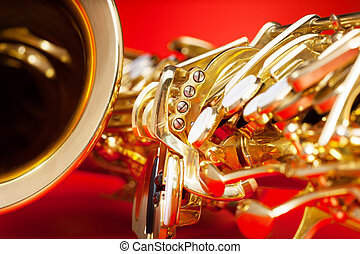 Close-up detailed view of saxophone with bell - Close-up...