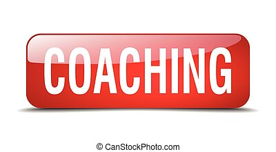 coaching red square 3d realistic isolated web button