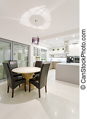 Dining space in modern interior - House interior with space...
