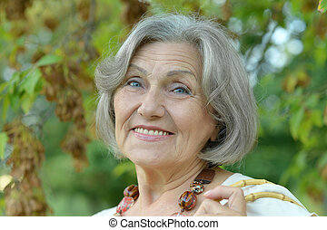 Portrait of happy smiling Senior woman close-up