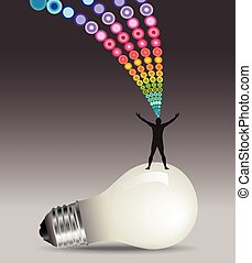 Lightbulb idea man concept
