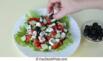 Close up of greek salad plate