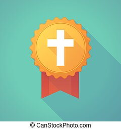 Long shadow badge icon with a christian cross