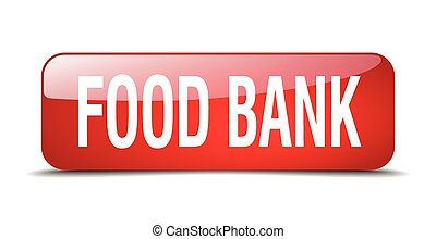 food bank red square 3d realistic isolated web button