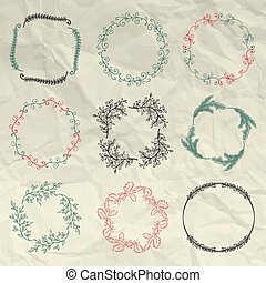 Hand Sketched Floral Frames, Borders on Crumpled Paper