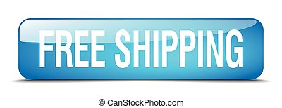 free shipping blue square 3d realistic isolated web button