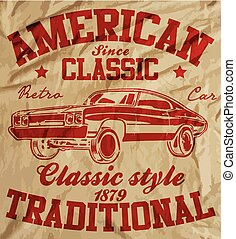 Old American Car Vintage Classic Retro man T shirt Graphic...