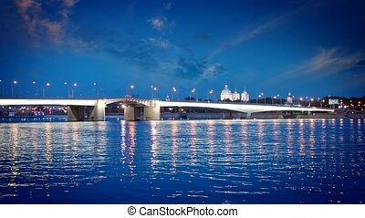 St Petersburg, night landscape View of the Foundry Bridge -...