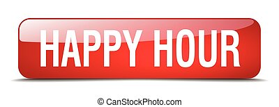 happy hour red square 3d realistic isolated web button