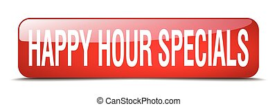 happy hour specials red square 3d realistic isolated web button