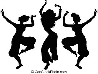 Indian dancers - Black vector silhouette of three women...