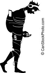 Addicted to Internet - Black vector silhouette of a teenage...