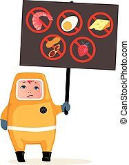 Food allergies - Child in hazmat suit holding a poster with...