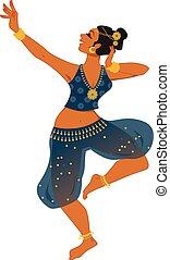 Indian dancer - Woman in a stage costume dancing a...