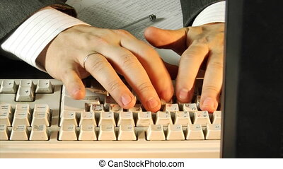 close-up typing