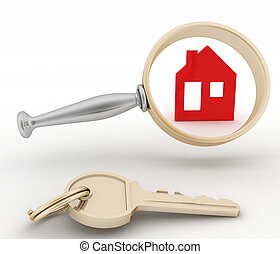 Magnifying glass inspects a home - Magnifying glass inspects...