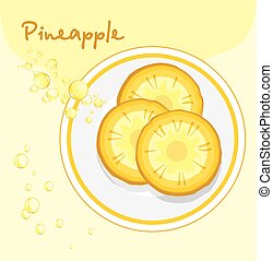 Pineapple slices in a plate. Label for design. Vector...