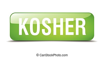 kosher green square 3d realistic isolated web button