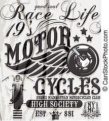 Motorcycle racing typography, t-shi