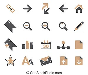 brown web and office icons