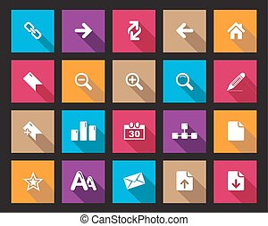 Colorful square web office icons