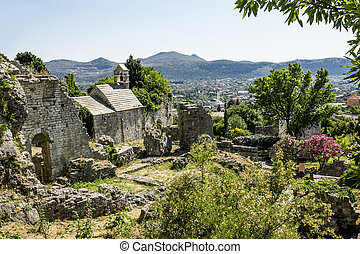 Church of St. Jovan in the old town of Bar in Montenegro on...