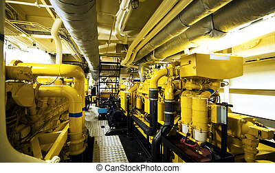 Engine room - The engine room with the water pupms to power...