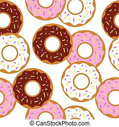 Tasty donuts vector seamless pattern, template