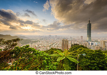 Taipei Skyline - Taipei, Taiwan skyline at sunset.