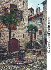 Streets of old medieval town Kotor