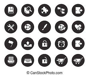 White Web and office icons vector