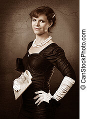 Old style portrait of woman with newspaper - Old style woman...