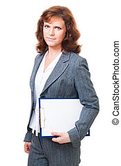 Positive business woman - Business woman standing with paper...