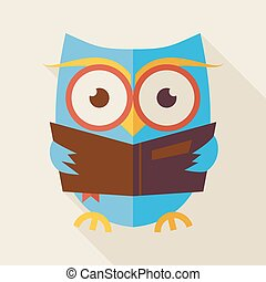 Flat Knowledge and Education Owl Reading Book Illustration...