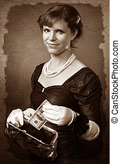 Vintage looking woman with dollar and purse - Vintage...