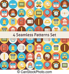 Four Vector Flat Seamless Back to School Patterns Set with Colorful Circles