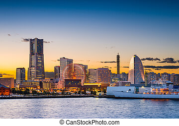 Yokohama Skyline - Yokohama, Japan sunset skyline.