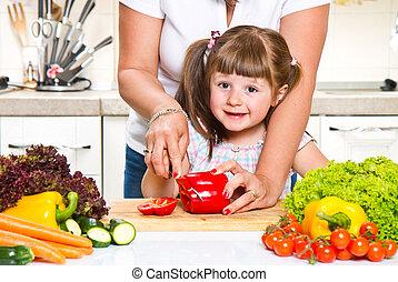mother and kid preparing healthy food