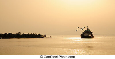 ferry boat -  ferry boat on suunset and seagulls