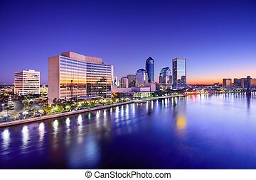 Jacksonville Skyline - Jacksonville, Florida, USA city...