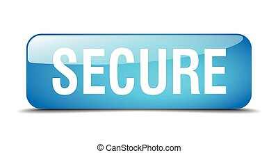 secure blue square 3d realistic isolated web button