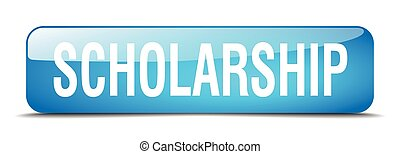scholarship blue square 3d realistic isolated web button
