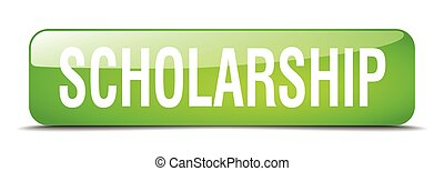 scholarship green square 3d realistic isolated web button