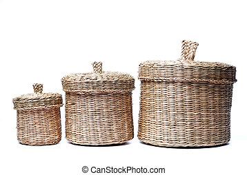 tres, wattled, cestas, aislado, blanco