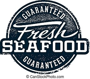 Fresh Seafood Stamp - Fresh seafood stamp in vintage style