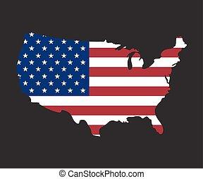 usa map on usa flag,vector