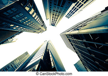 Abstract futuristic cityscape view with modern skyscrapers...