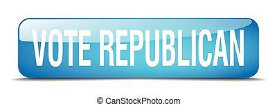 vote republican blue square 3d realistic isolated web button
